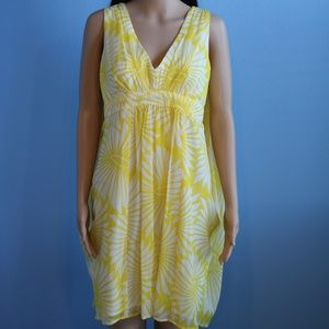 Trina Turk Sheer Yellow Flowing Back Trapeze Dress